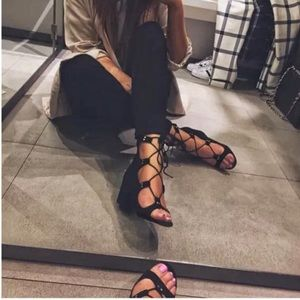 Zara Lace-Up Block Heel Sandals